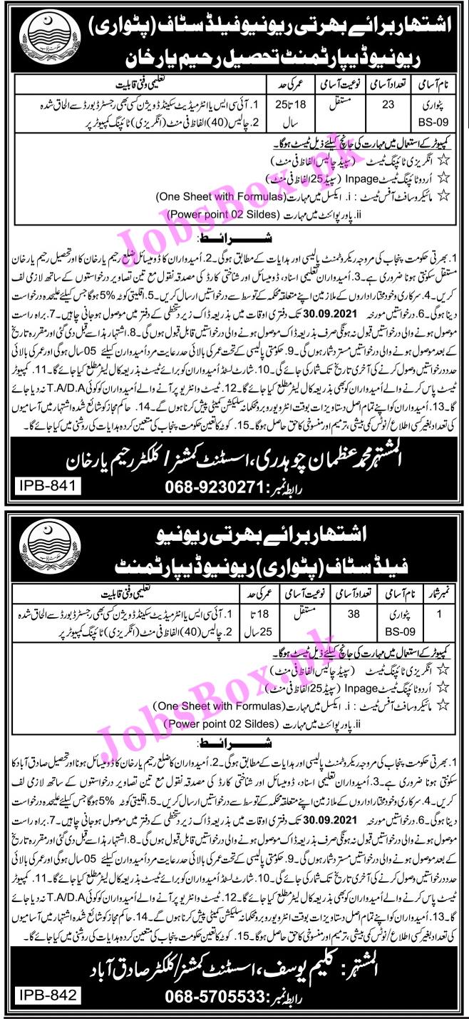 Revenue Department Rahim Yar Khan Jobs 2021