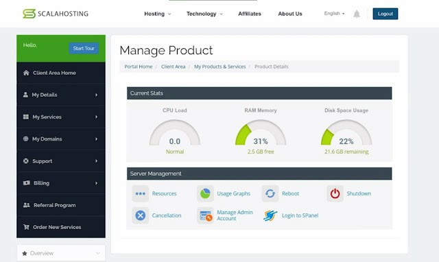 Scala hosting dashboard look