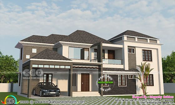 Sloping roof 2600 sq-ft 4 bedroom home plan