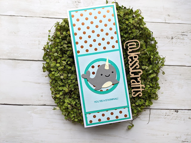 Card for Slimline from 6x6 Paper Template #4 by Jess Crafts featuring Lawn Fawn Narwhal