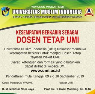 Penerimaan Calon Dosen Tetap Yayasan Wakaf UMI Tahun 2019