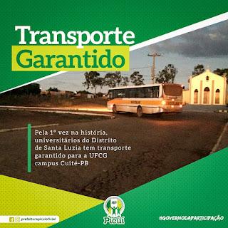 Pela primeira vez na história estudantes universitários de Santa Luzia tem transporte garantido