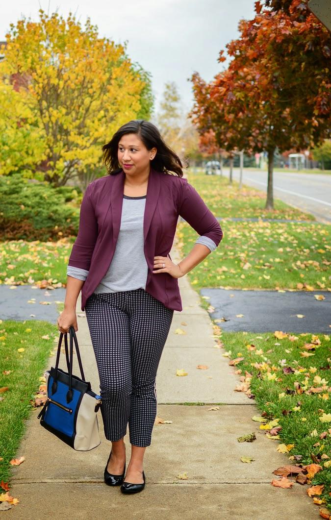 Fall fashion: Slouchy blazer + printed ankle pants + cap toe flats