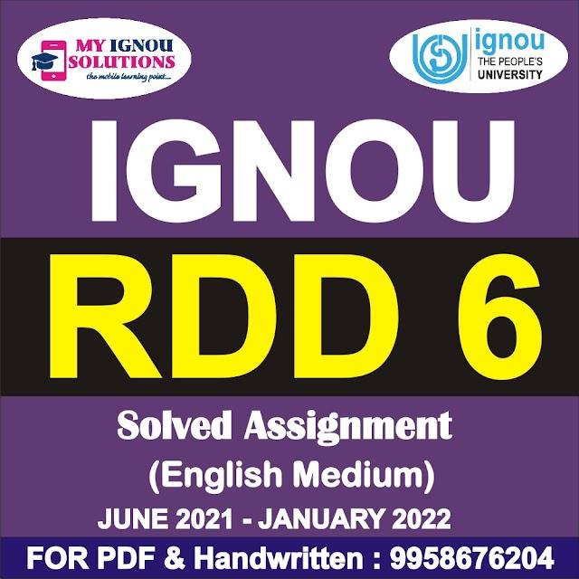 RDD 6 Solved Assignment 2021-22
