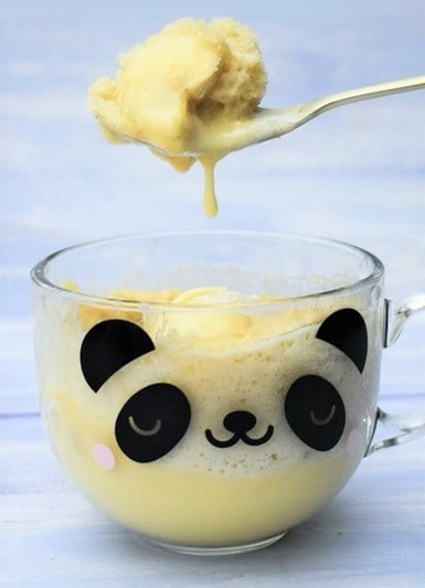 Banana Custard Pudding Mug Cake with Vanilla Ice Cream