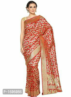 Red Woven Banarasi Silk Saree  Rs:3150/-