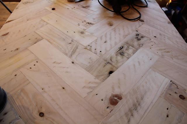 Herringbone Pallet Wood Sanded