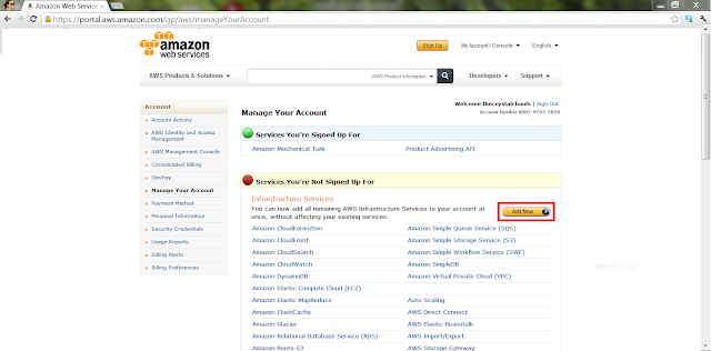 AWS Create Account - Manage your account
