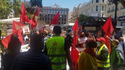 بالصور … وقفة احتجاجية تنديدية حاشدة امام المحكمة الوطنية الاسبانية للمطالبة باعتقال زعيم البوليساريو ابراهيم غالي