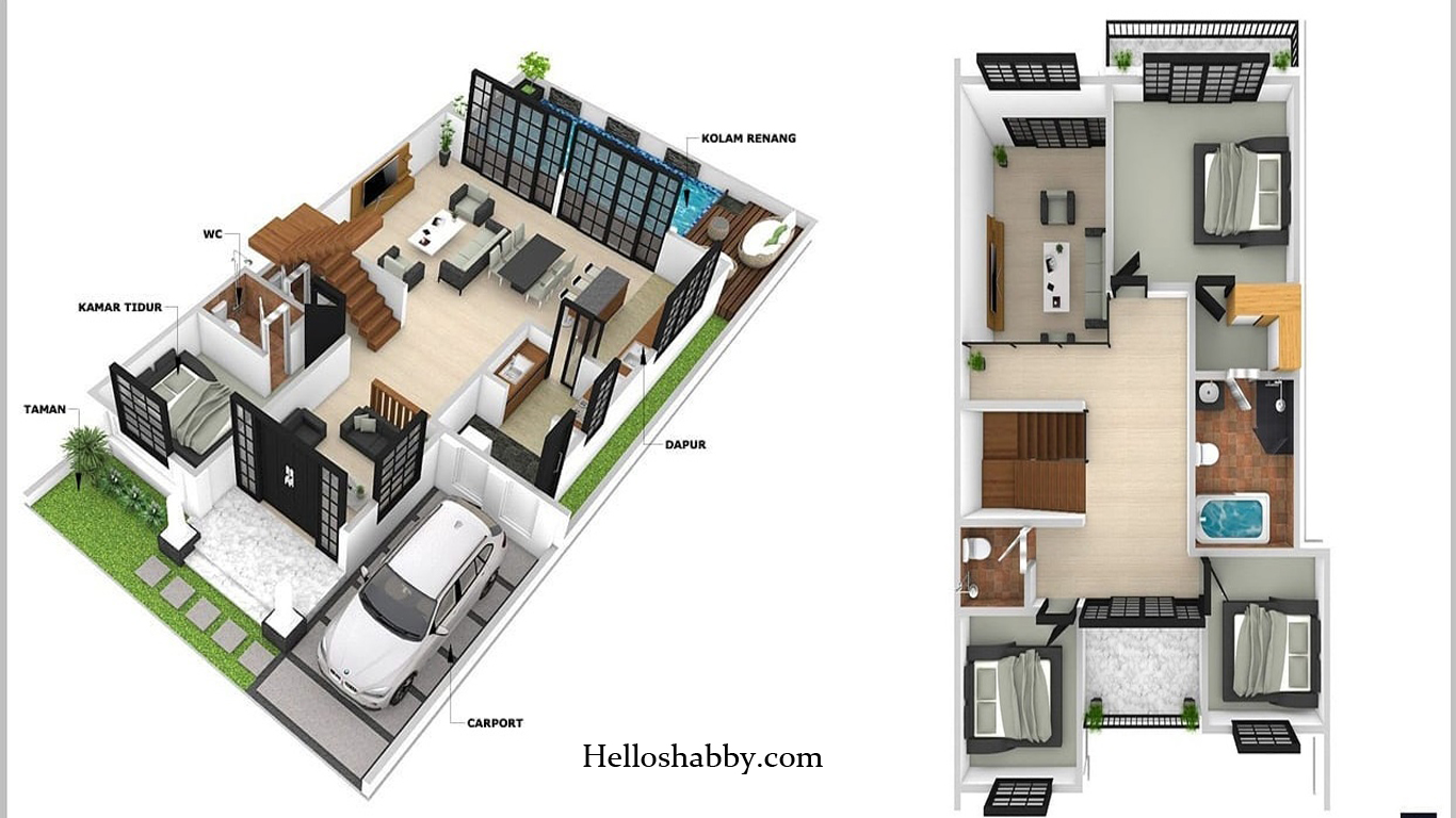 6 Denah Rumah Minimalis 2 Lantai Modern Sederhana 2021 Helloshabby Com Interior And Exterior Solutions