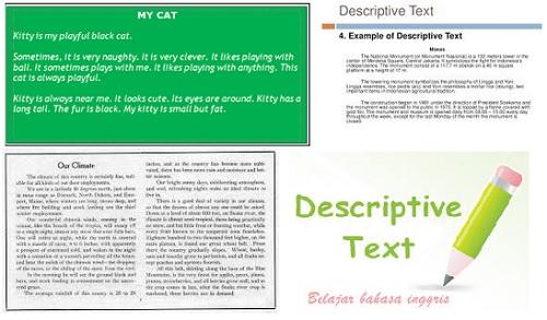 Contoh Descriptive Text Bahasa Inggris dan artinya