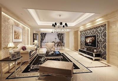 Phối màu gạch ốp tường và lát nền phòng khách theo ngũ hành