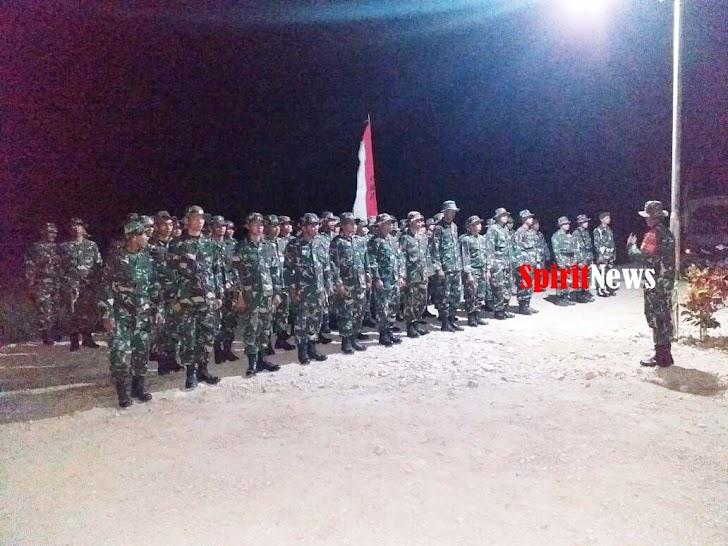 Dan SSK Kapten Inf Jamaluddin , Pimpin Apel Malam Satgas TMMD Ke-105 Kodim 1404/Pinrang
