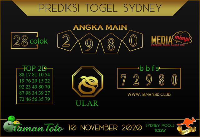 Prediksi Togel SYDNEY TAMAN TOTO 10 NOVEMBER 2020