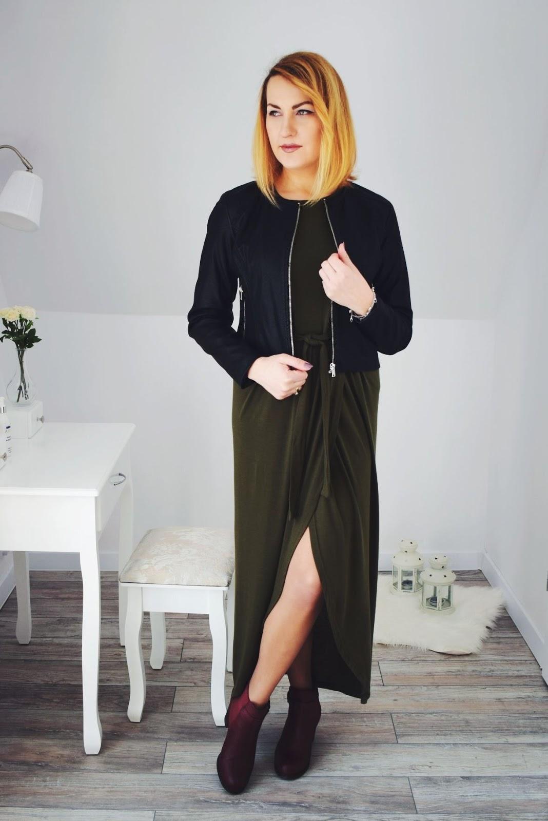 Sukienka maxi khaki