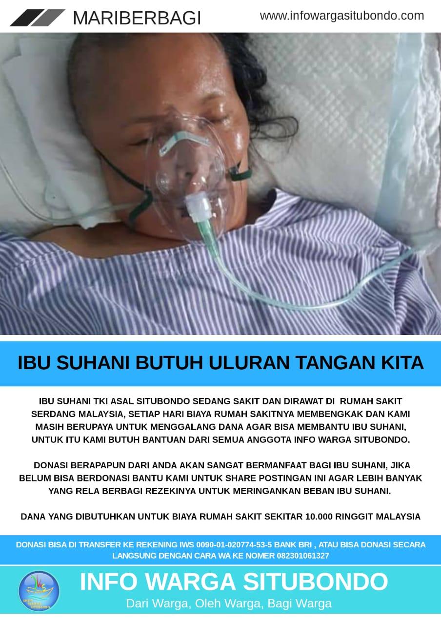 Donasi untuk Ibu Suhani Situbondo yang sedang sakit di Malaysia