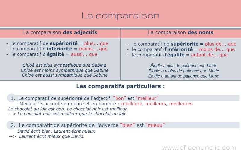 grammaire, la comparaison des noms et des adjectifs en français, infographie,lle FLE en un 'clic'