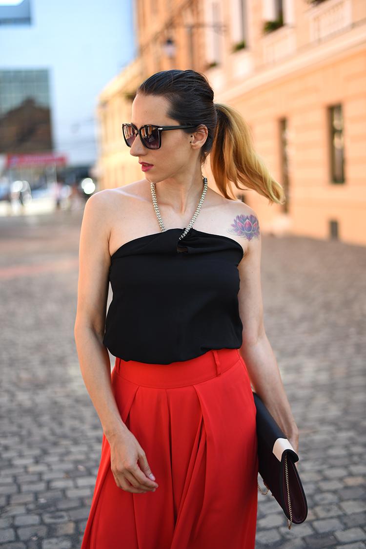 chain top red palazzo pants