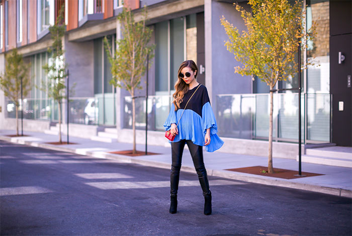 chicwish edge two tone top with bubble sleeves, pleated top, blue pleated top, color blocked top, blank denim moto pants, gucci marmont matelasse  mini bag, gucci wallet on the chain, gucci bag, moto pants, ankle booties, block heeled ankle booties, chloe sunglasses, chloe girls, street style, fall fashion, san francisco fashion blog, san francisco street style