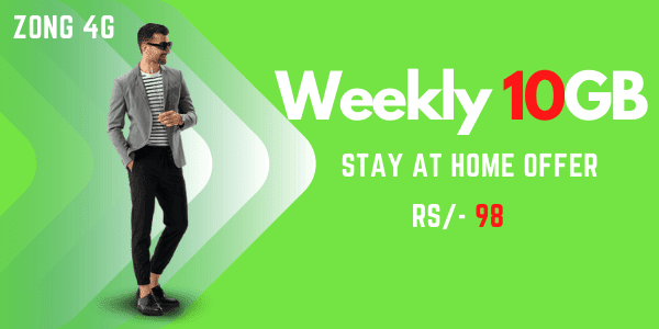 ZONG Weekly 10GB internet package, Rs-98