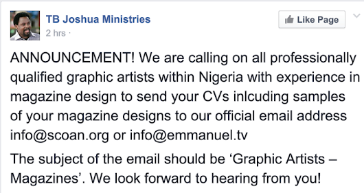 EMPLOYMENT FOR GRAPHIC ARTIST IN SCOAN