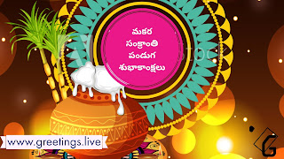 Telugu Greetings on pongal pot Makara sankranti wishes