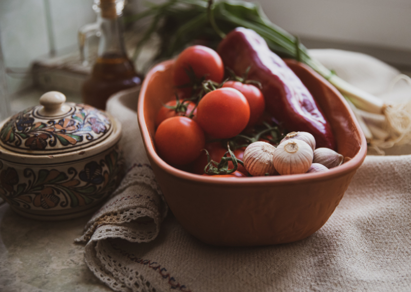 A bowl full of veggies in a post about five easy ways to feel cosy at home.