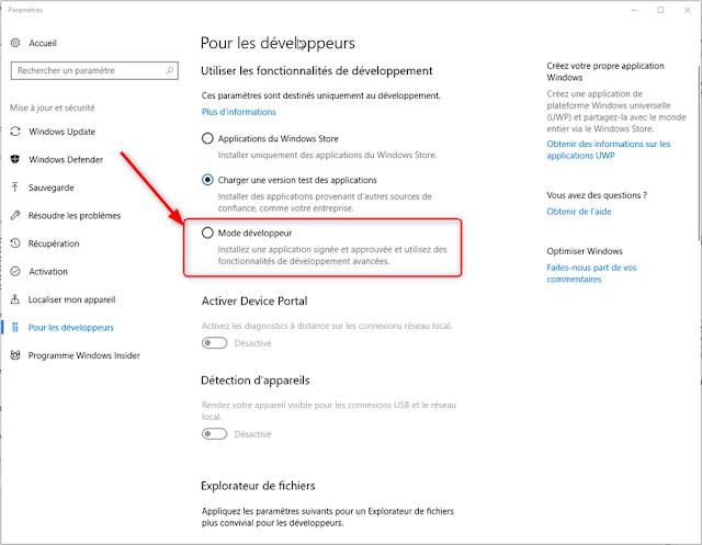 Windows 10 - Passez en Mode développeur