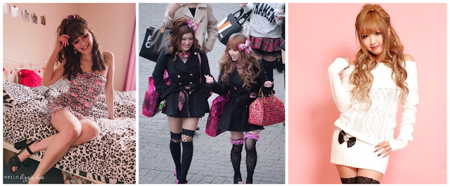 A small collage of Agejo Gyaru inspired outfits