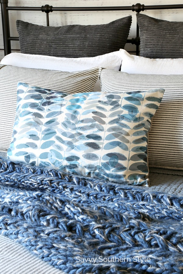 pillows on farmhouse style bed