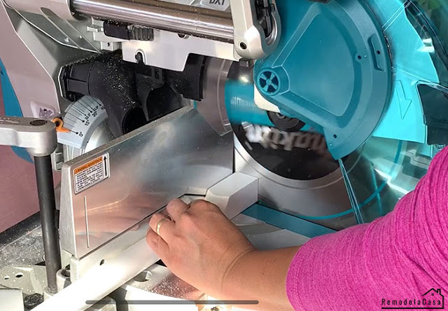 Cutting the garland beads with Makita miter saw