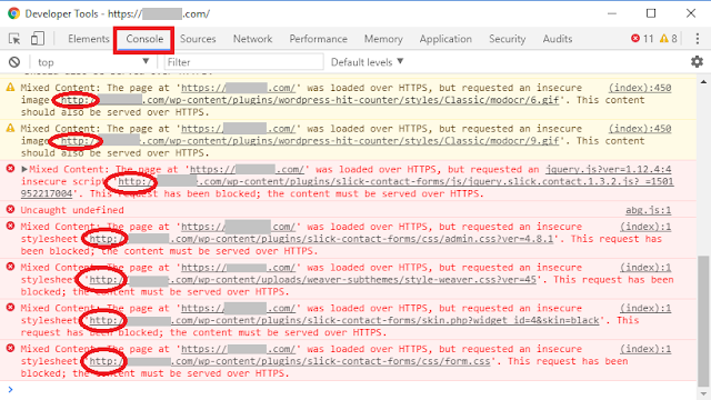 http to https ssl unsafe scripts blocked inspect element console