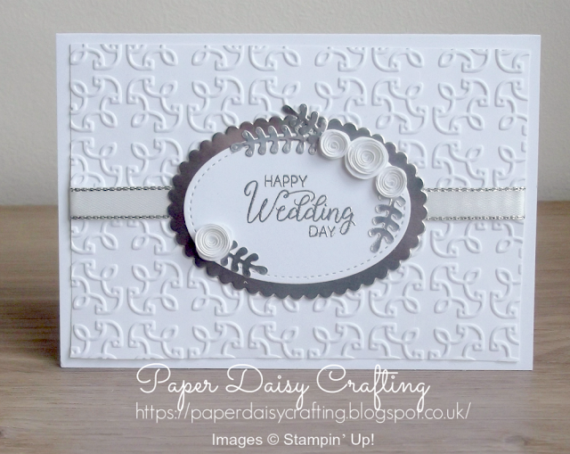 Handmade wedding card with beautiful bouquet from Stampin' Up!
