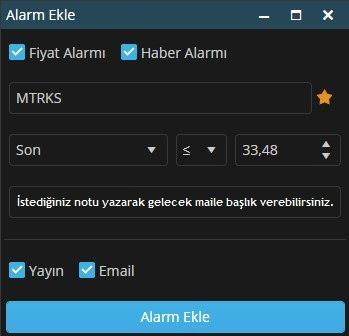 Matriks Web Trader Alarm Ekranı