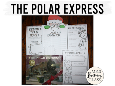 The Polar Express Christmas book study literacy unit with Common Core aligned companion activities and a craftivity for K-1