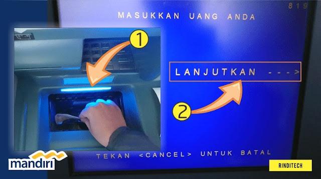 Cara setor tunai uang di ATM Bank Mandiri
