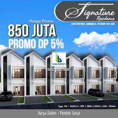Jual Rumah Murah Dengan Promo DP Hanya 5% Bisa Dicicil Lokasi Jl Karya Dalam Pusat Kota Medan - Signature Residence