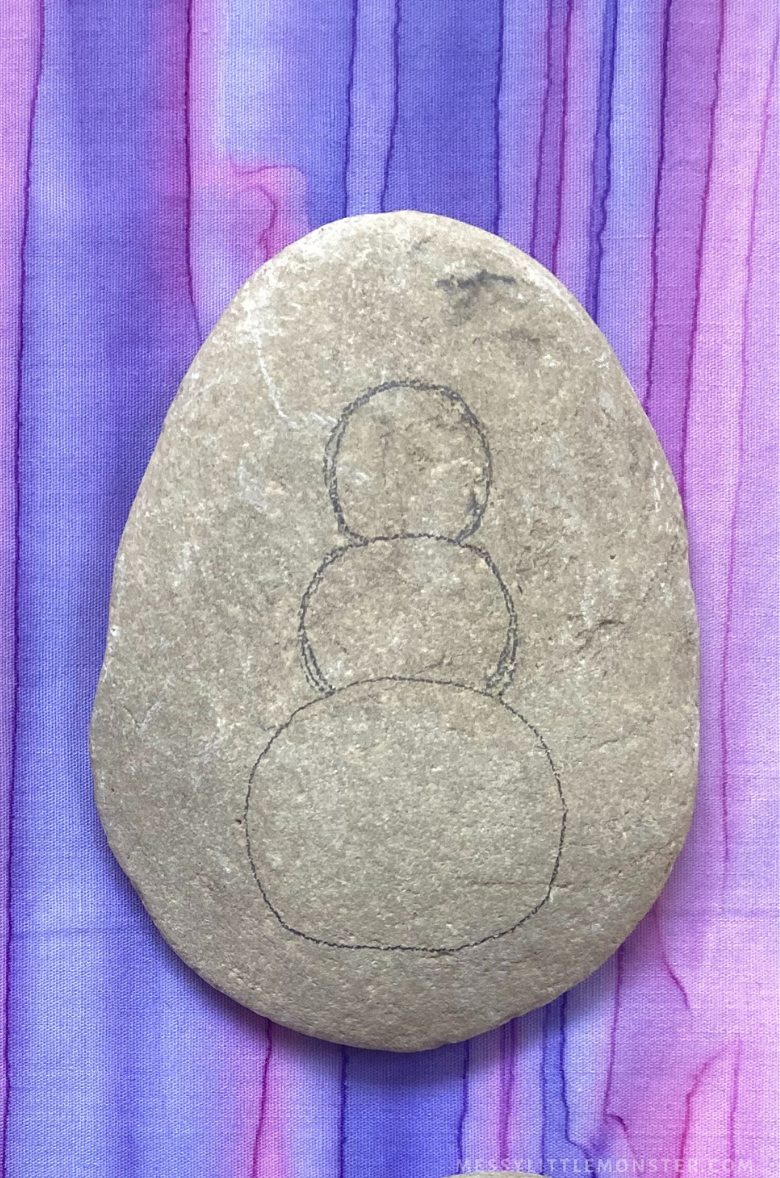 Winter rock painting - snowman