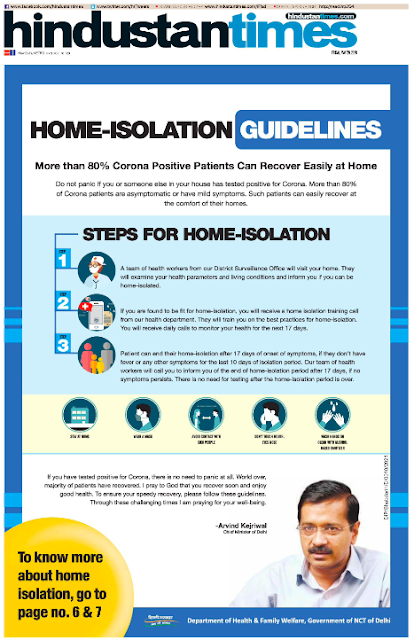 Print Ad stressing on Home Isolation in COVID