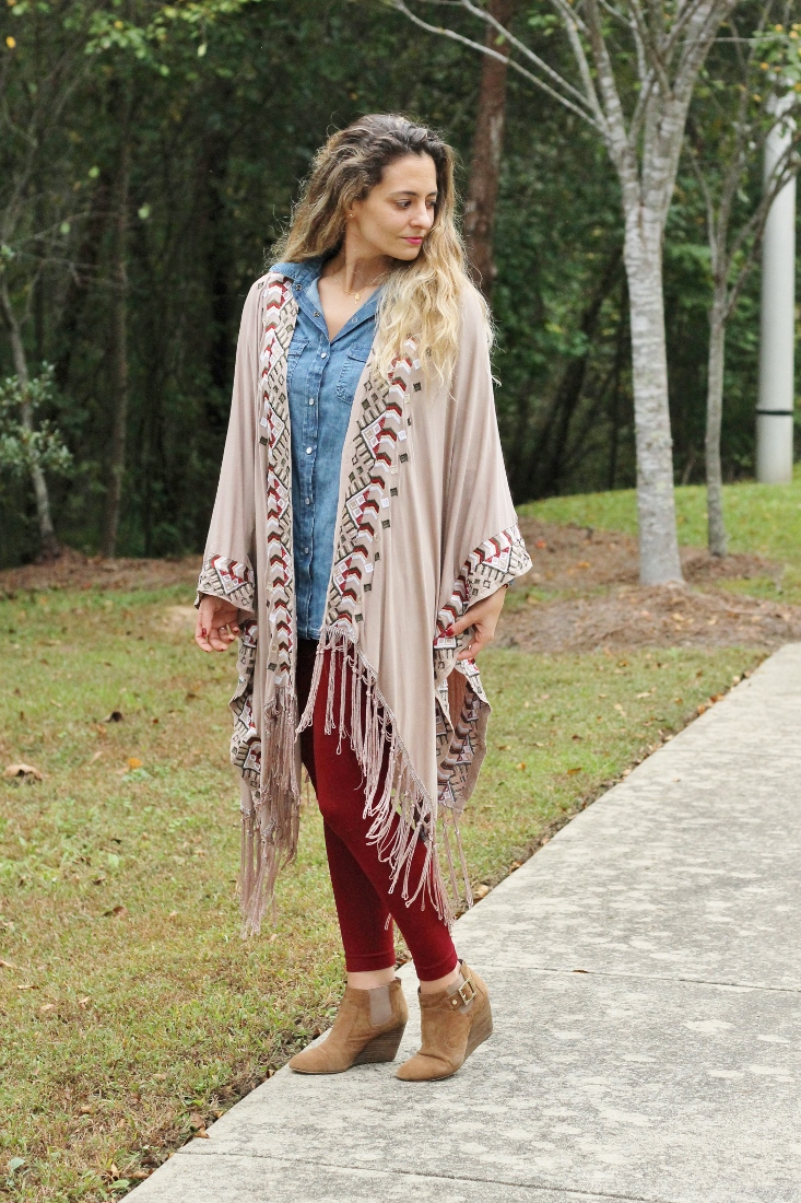 Florida State outfit - garnet leggings, denim shirt and oversize poncho