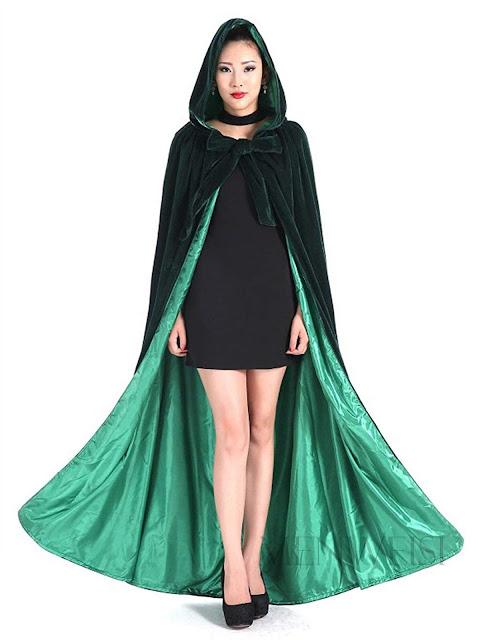 Long Green Velvet Hooded Cape for Halloween Cosplay