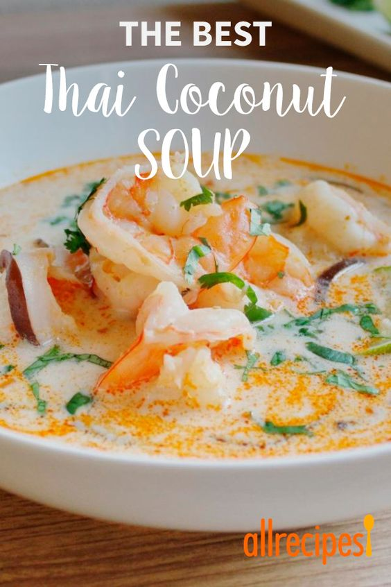 """""""Authentic, bold, and delicious Thai flavors make this soup irresistible! This is the best Thai coconut soup I've had. You won't be disappointed with this one! Serve over steamed rice."""""""