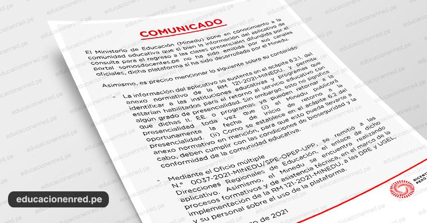 COMUNICADO MINEDU: Aplicativo de consulta para el regreso a las clases presenciales 2021 - www.minedu.gob.pe