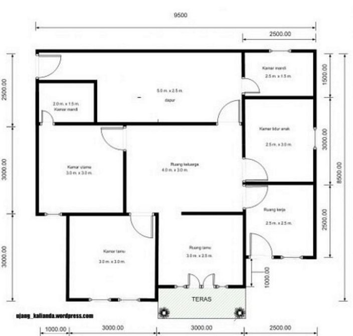denah rumah sederhana 4 kamar tidur inspiratif