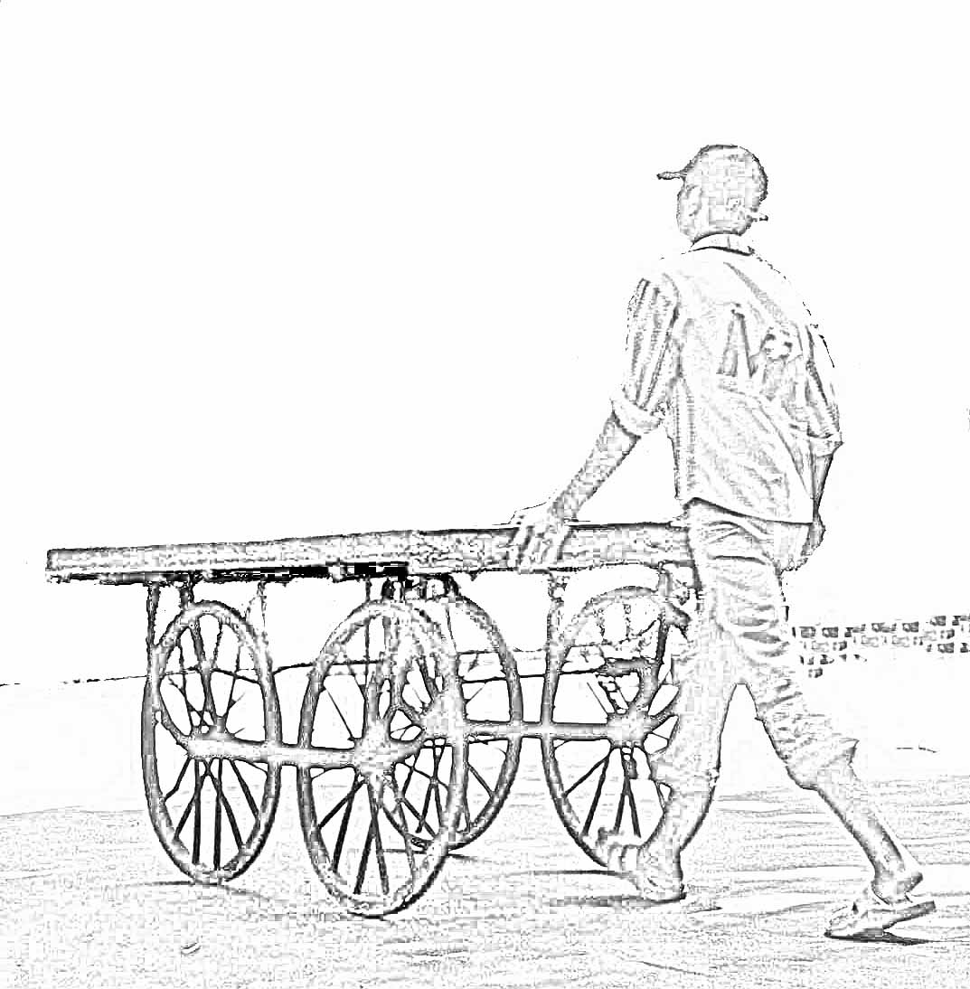 Stock Pictures Wooden Hand Carts With Four Wheels