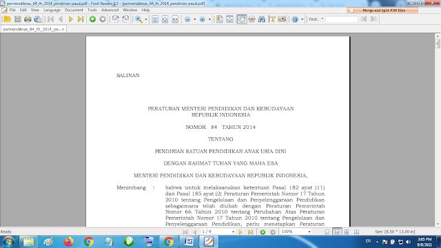 Download Permendiknas 84 tahun 2014 pendirian Paud TK KB RA
