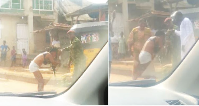 """Nigerian Soldier beats and Strips a lady Naked over Indecent dressing in Ogun state"""