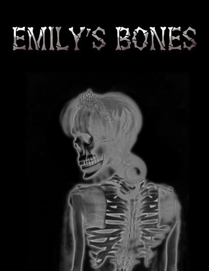 "a female skeletal ghost with the words ""Emily's Bones"" written in a bone font"