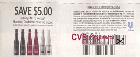 """$5/1 Nexxus products Coupon from """"RetailMeNot"""" insert week of 3/15/20."""
