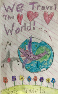 """A child's drawing that says """"We travel the world"""""""